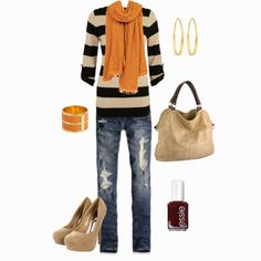 don't love the shoes, but the striped sweater and solid scarf looks cool. Outfits Jeans, Cute Outfits, Casual Outfits, Vogue, Mellow Yellow, Mustard Yellow, Looks Cool, New Wardrobe, Carrie Bradshaw