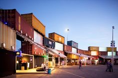 Illuminated Shipping Container Wall is a Temporary Music Festival Venue in Rio…