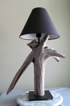 Driftwood Table Lamp with V Shaped Root and by DriftingConcepts