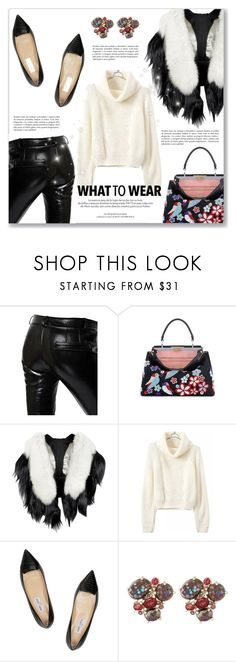 """""""What to Wear"""" by dressedbyrose ❤ liked on Polyvore featuring Each X Other, Fendi, Louis Vuitton, Jimmy Choo and Stephen Dweck"""