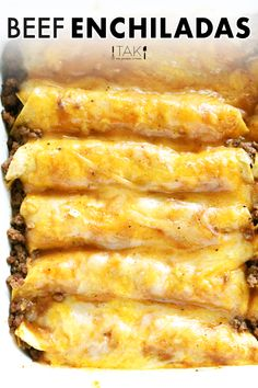 Beef Dishes, Food Dishes, Meat Dish, Mexican Dishes, Mexican Food Recipes, Mexican Desserts, Homemade Beef Gravy, Ground Beef Enchiladas, Easy Beef Enchiladas