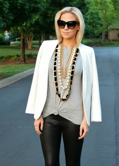 oversized necklace and basics