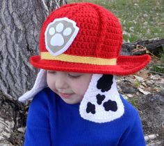 Paw Patrol Marshall Crochet Hat Pattern by KismetCrochet on Etsy Crochet Hats For Boys, Crochet Baby Hats, Crochet Beanie, Crochet Gifts, Crocheted Hats, Booties Crochet, Crochet Loop, Bonnet Crochet, Double Crochet