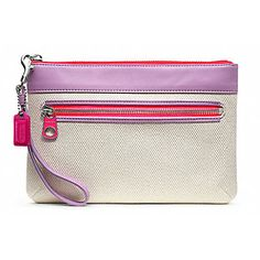 Coach Legacy Weekend Beach Canvas Wristlet - A pop of color brings this practical canvas wristlet to life