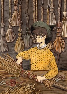 Print of artwork by Heikala. Illustration of a young wizard making a broom. Great as wall art for kids' room. Art And Illustration, Art Illustrations, Fantasy Kunst, Fantasy Art, Anime Kunst, Anime Art, Pretty Art, Cute Art, Character Inspiration