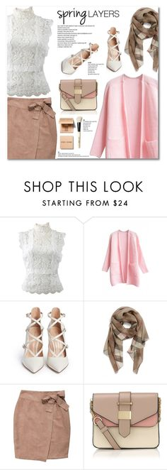 """""""Spring Layers"""" by cecilie-1998 ❤ liked on Polyvore featuring Oscar de la Renta, WithChic, Gianvito Rossi, Burberry, Accessorize, Bobbi Brown Cosmetics, cutecardigan and springlayers"""