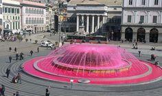 Fontana di De Ferrari viola per la settimana della Cultura: - Genova Post