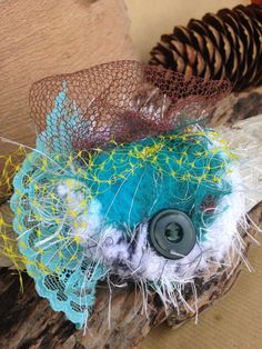 Turquoise and Teal Felted Hair Piece made with by ShovelandSpade