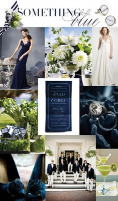 Navy and white wedding color trends..note the combo of navy and green