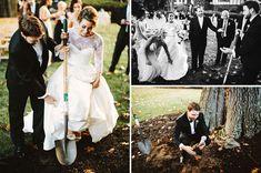 bride and groom digging