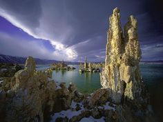 "Mono Lake, California. This beautiful lake is a saline soda lake with spectacular ""tufa towers,"" calcium-carbonate spires and knobs formed by interaction of freshwater springs and alkaline lake water. The lake is over a million years old."