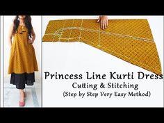 <img> Princess Line Kurti Dress Cutting and Stitching Churidar Designs, Kurti Neck Designs, Kurta Designs Women, Kurti Designs Party Wear, Blouse Designs, Kurti Patterns, Dress Sewing Patterns, Girls Dresses Sewing, Sewing Clothes