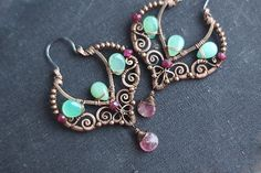 Wire wrapped boho gypsy copper earrings with mint  by SabiKrabi, $65.00