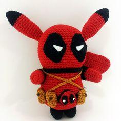 Pikachu Deadpool Amigurumi Crochet Pattern PDF by MariiArts Amigurumi Patterns, Knitting Patterns, Crochet Patterns, Learn To Crochet, Crochet For Kids, Crochet Dolls, Crochet Hats, Deadpool Stuff, Crochet Needles