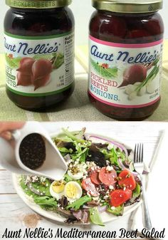What's a perfect picnic without a Rustic Mediterranean Salad with Aunt Nellie's Sliced Beets, Eggs and Feta Cheese Yumm Yum #AuntNellies #READsalads ANRpicnic