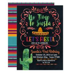 Mexican Fiesta Birthday Party Invitation - birthday cards invitations party diy personalize customize celebration