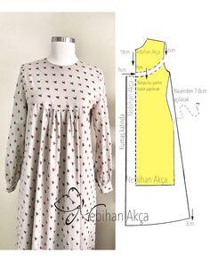 İnstagram - Ideal por la amplitud para talles grandes o estilo oversize - Dress Sewing Patterns, Clothing Patterns, Sewing Clothes, Diy Clothes, Abaya Pattern, Costura Fashion, Sewing Collars, Model Outfits, Dress Tutorials