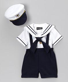 Navy & White Sailor Shorts Set - Infant, Toddler & Boys | zulily
