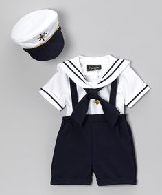 Navy & White Sailor Shorts Set - Infant, Toddler & Boys | zulily