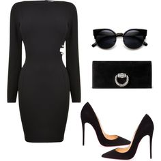 All Black by rxycl3 on Polyvore featuring polyvore fashion style Christian Louboutin Gucci ZeroUV