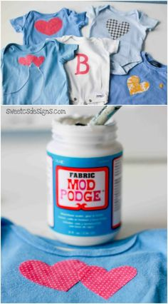 You'll love these DIY onesies created by Courtney. She turned her old boy's wardrobe into clothing for her new baby girl with Fabric Mod Podge! via @modpodgerocks