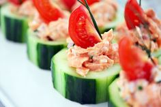 Spicy Salmon Cucumber Bites. These would make a great snack/appetizer. Yum!