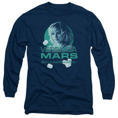 VERONICA MARS/MARSHMALLOW LOGO-L/S ADULT 18/1-NAVY