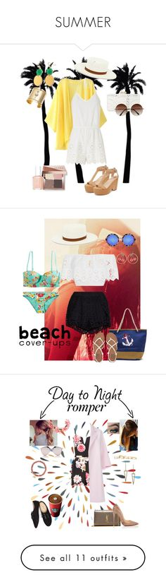 """SUMMER"" by vicjerphy ❤ liked on Polyvore featuring Dot & Bo, Miguelina, BCBGMAXAZRIA, Loeffler Randall, Edge of Ember, Janessa Leone, Essie, Bobbi Brown Cosmetics, New Look and American Eagle Outfitters"