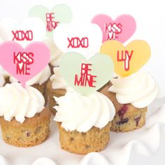 Top your V-Day sweets with convo heart toppers.