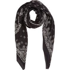 Saint Laurent Bandana-Print Etamine Scarf ($895) ❤ liked on Polyvore featuring accessories, scarves, black, black scarves, yves saint laurent, black shawl, square scarves and oversized scarves