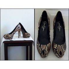 """Jessica Simpson Snakeskin Peeptoe Pump EUC.   Size 10-TTS.    5"""" Heel.    1 1/4"""" Platform.   A very cute faux snakeskin peeptoe pump. The platform makes for comfortable wear. Great with skinny jeans!  Extremely minor scuffs on each heel-see last picture (small white marks).  Soles reflect minor wear. No box.                              (0001) Jessica Simpson Shoes Heels"""