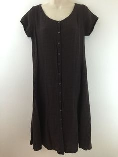 Eileen Fisher S Brown Casual Dress Shift Smock Viscose Linen Blend Size Small #EileenFisher #Shift #Casual