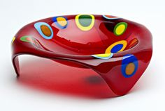 Red Small Round Stepping Stone: Ed Edwards: Art Glass Bowl - Artful Home