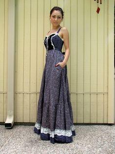 Vintage 70s GUNNE SAX floral prarie HIPPIE boho MAXI dress