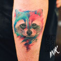 Watercolor Raccoon Tattoo done by Versus Works at Asgard, Southampton, UK. Girly Tattoos, Arm Tattoos, Love Tattoos, Tattoo Arm, Awesome Tattoos, Tattos, Raccoon Tattoo, Asgard, Cool Tattoos For Guys