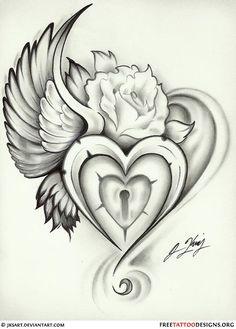 wing heart lock rose tattoo flash - Picmia