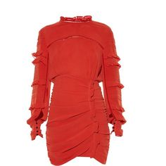 Isabel Marant Qods ruched stretch silk-blend dress (14 735 ZAR) ❤ liked on Polyvore featuring dresses, red, high neck dress, red ruched dress, frilly dresses, high neck long sleeve dress and red ruffle dress