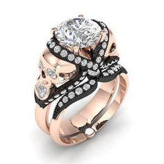 Skull Engagement Ring Set By Dr Tom Raspotnik Rings Settings