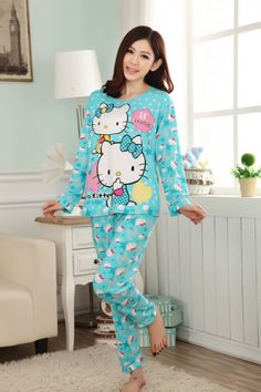 CU00372 Cartoon lovely sets spring and autumn pajamas for women