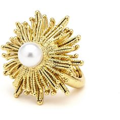 Oscar De La Renta Pearly Sun Star Statement Ring ($190) ❤ liked on Polyvore featuring jewelry, rings, gold, jewelry rings, star jewelry, beading jewelry, golden jewellery, oscar de la renta jewelry and yellow jewelry