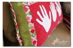 Holiday handprint pillow. What a great gift idea for the grandparents who have everything.