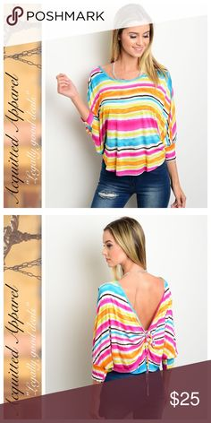 Rainbow Butterfly Tie Back Top Beautiful style. Super soft fabric. Made in the USA. Acquitted Apparel Tops Blouses