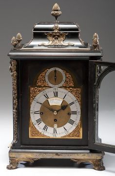 English, ca 1780-90. A bracket clock with brass and silvered dial signed John Carter / London, in a kingwood case with ormolu mounts, having a three-train movement, striking quarters on eight bells #antiqueclocks