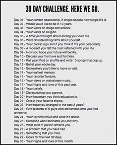 30 Day Self Challenge...maybe in a journal?