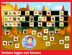 Thema herfst, reeksen leggen met kleuters op digibord of computer, kleuteridee Preschool Crafts, Crafts For Kids, Toddler Themes, Exercise For Kids, Autumn Theme, Primary School, Kindergarten, Teaching, Halloween