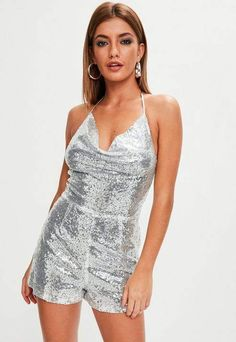 8121f3e4211 Missguided Silver Sequin Cowl Detail Romper Sparkly Playsuit