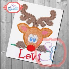 Reindeer Peeker Boy Applique Design For Machine Embroidery  INSTANT Download by SewEmbroidable on Etsy https://www.etsy.com/listing/251353224/reindeer-peeker-boy-applique-design-for