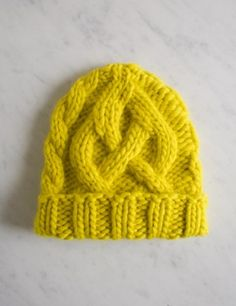 Traveling Cable Hat in Super Soft Merino - kid size - free pattern - The Purl Bee