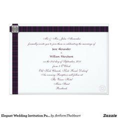 Elegant Wedding Invitation Purple Scottish Tartan