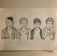 Super cool drawing not mine but i will try hard to draw one as amazing as this one :) Cartoon Drawings, Cute Drawings, 5sos Drawing, 5sos Fan Art, Pencil And Paper, Second Of Summer, Luke Hemmings, Music Bands, Doodles